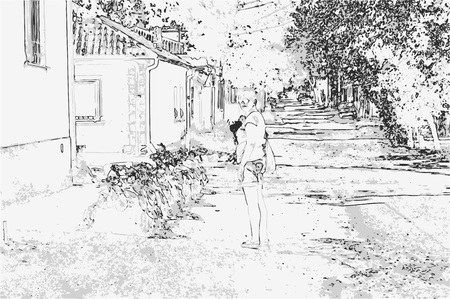 City landscape of small town with old houses, trees, sky, grass and standing woman in style of pencil drawing. Monochrome three-color vector in grayscale