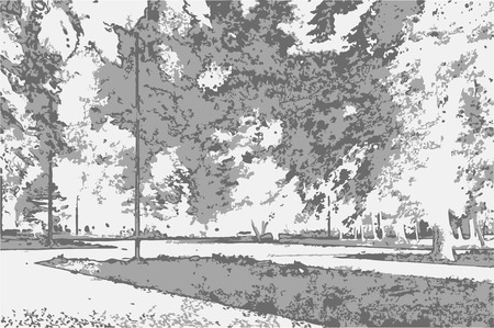 Park landscape with trees, sky, paths and grass in style of pencil drawing. Monochrome three-color vector in grayscale