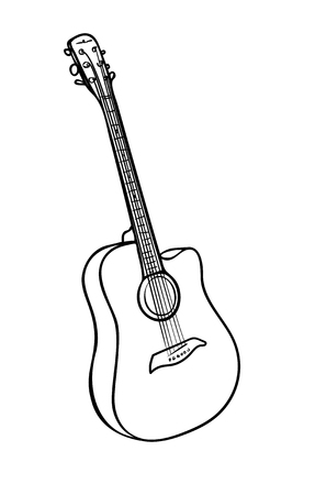 Vector illustration, isolated acoustic guitar in black and white colors, outline hand painted drawing Stock Vector - 124669194
