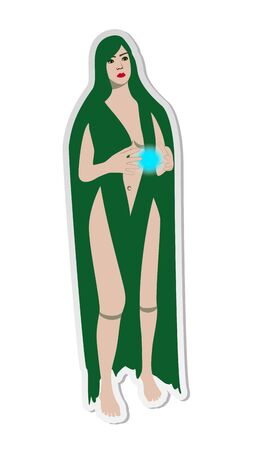 Vector illustration, sticker of young naked girl with very long green hair, yellow eyes, red lips and translucent sphere in hands in flat cartoon style   isolated on white background