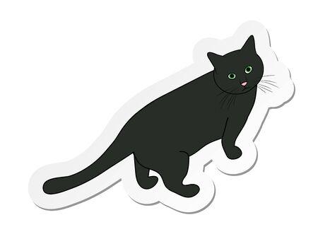 Vector illustration, sticker of grey cat in flat cartoon style isolated on white background Standard-Bild - 126585821
