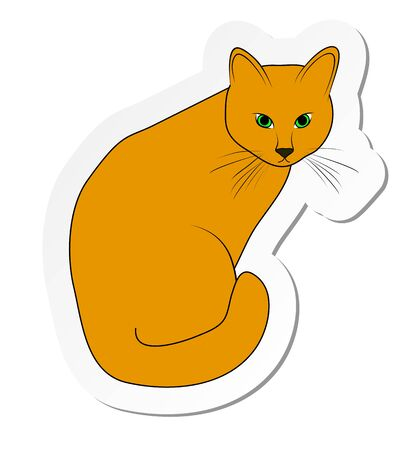 Vector illustration, sticker of ginger cat in flat cartoon style isolated on white background Standard-Bild - 126585830