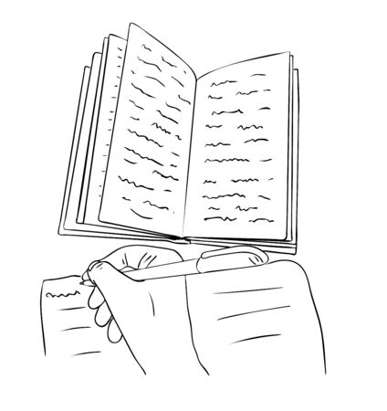 Vector illustration, isolated open book with scribbles and hand with a pen in black and white colors, outline hand painted drawing Çizim