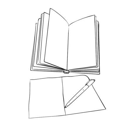 Vector illustration, isolated open empty book with notebook and pen in black and white colors, outline hand painted drawing Çizim