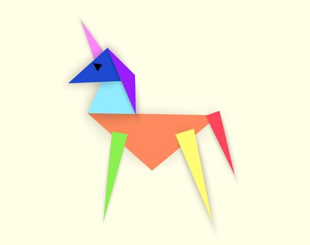 Rainbow unicorn, vector illustration in abstract style of paper cut from triangles Illustration
