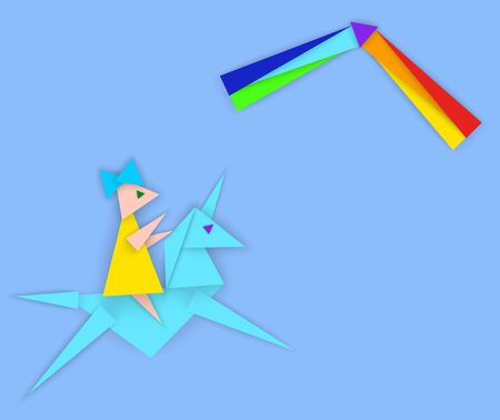 Girl riding a unicorn and rainbow, vector illustration in abstract style of paper cut from triangles with empty copy space