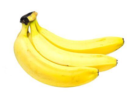 Few ripe yellow bananas isolated on white background