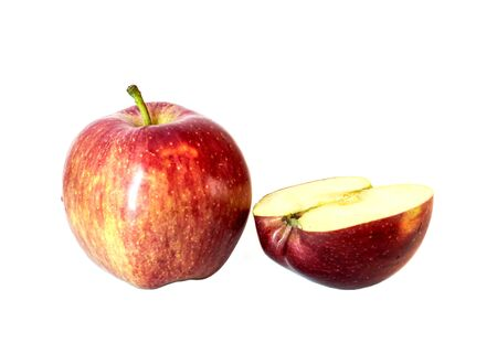 One whole ripe red apple and half of an apple isolated on white background