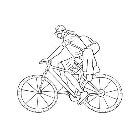 Vector illustration, isolated man courier in protective mask driving a bicycle in black and white colors, outline original hand painted drawing