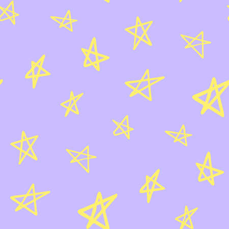 Seamless pattern of cute night cartoon stars, original doodle vector drawing