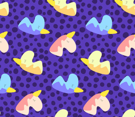 Seamless pattern of cute night cartoon unicorns with dots, original doodle vector drawing