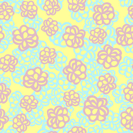 Seamless floral pattern with cute cartoon color flowers, doodle original vector drawing