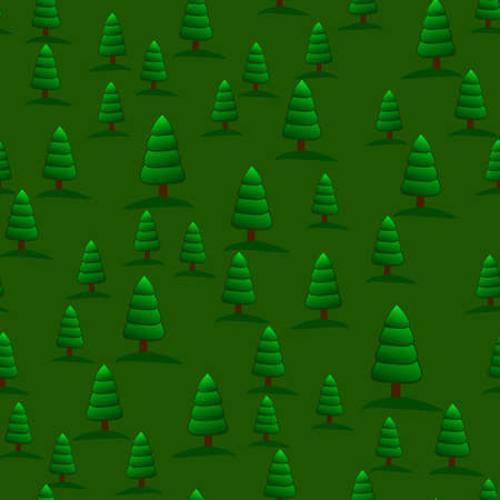 Seamless nature pattern with cute cartoon green pines, original doodle vector drawing