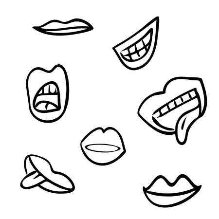 Set of cute cartoon lips, original doodle vector drawing Vectores