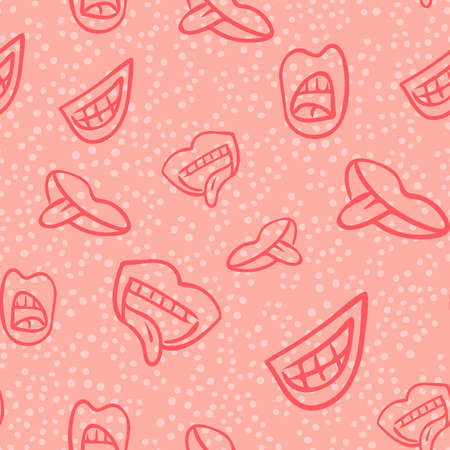 Seamless pattern with cute cartoon color lips, original doodle vector drawing Vectores
