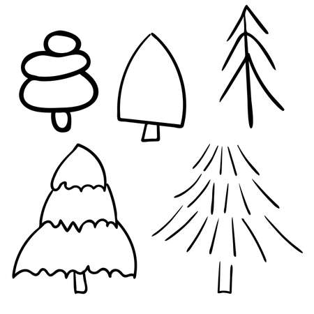 Set of cute cartoon christmas trees, original doodle vector drawing
