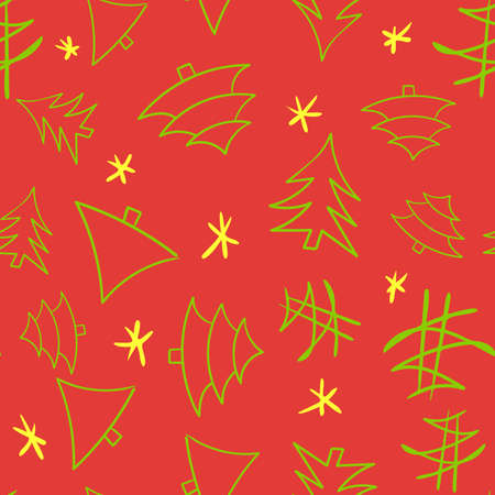 Seamless holiday pattern with cute cartoon christmas tree, original doodle vector drawing