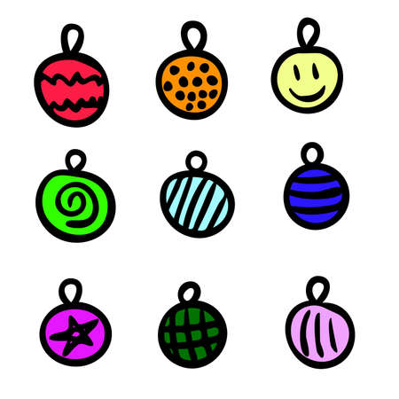 Set of cute cartoon color christmas decoration balls, original doodle vector drawing Vectores