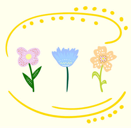 Set of cute color cartoon flowers, original doodle vector drawing Vectores