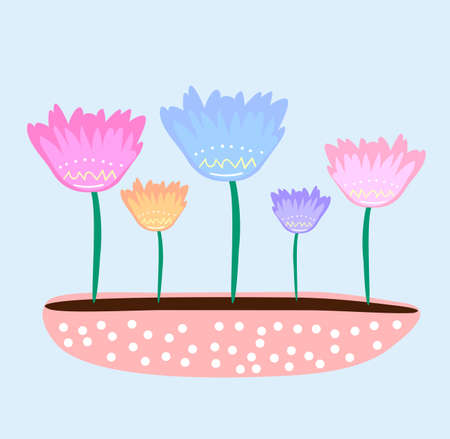 Cute cartoon flowers in wide pot, original doodle vector drawing