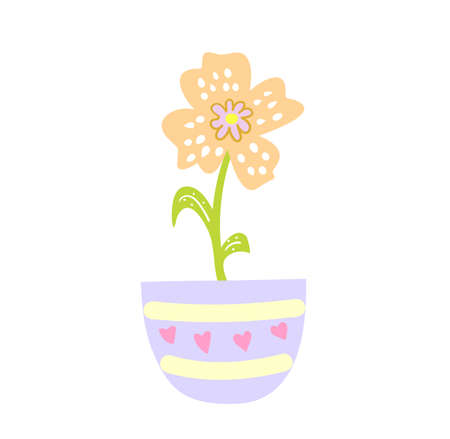 Cute cartoon flower in pot, original doodle vector drawing Vectores