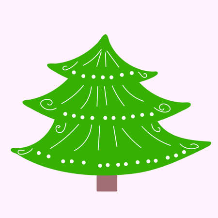 Cute cartoon christmas tree with decorations, original doodle vector drawing