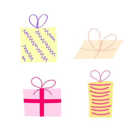 Set of cute cartoon color christmas gifts boxes, original doodle vector drawing