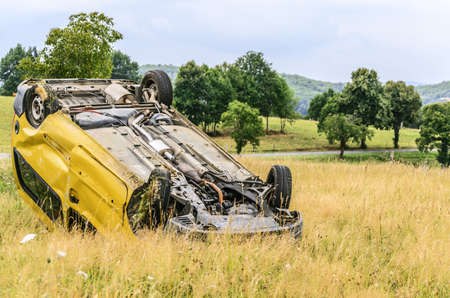 bad accident: Car accident close to the road in Navarra Stock Photo