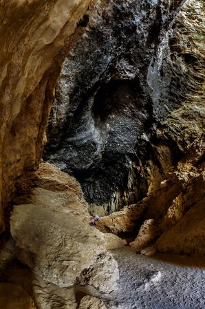 bartolome: view of a Templar chapel from inside a cave