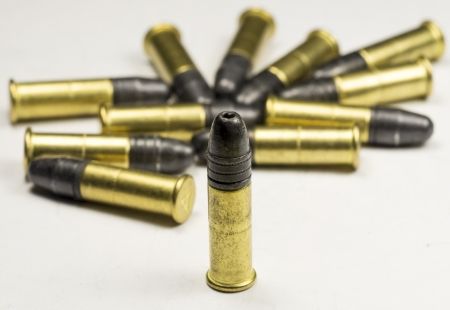 caliber:  22 caliber Long rifle Rimfire Ammunition on white Stock Photo