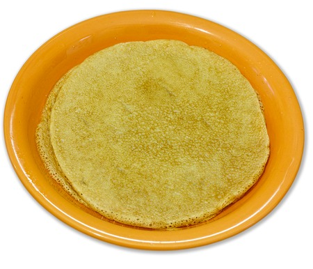 rosy cheeked: dinner-plate with wheat pancake on white