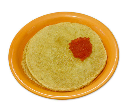 rosy cheeked: dinner-plate with wheat pancakes and  salmon caviar on white Stock Photo