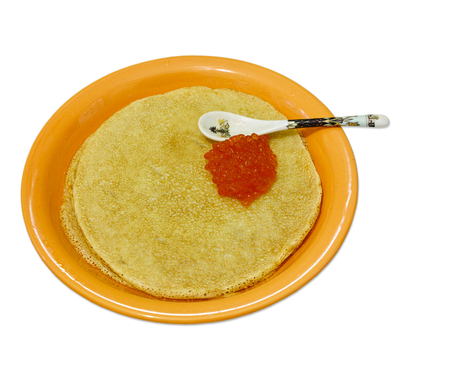 rosy cheeked: dinner-plate with pancakes, salmon caviar, teaspoon on white Stock Photo