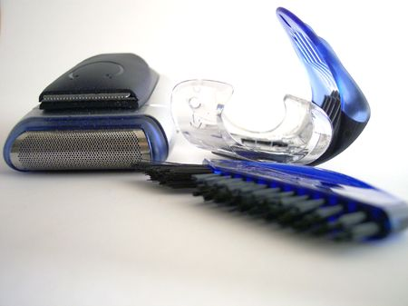 trimmers: electric razor and accessories Stock Photo