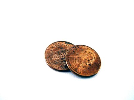 pennies: two isolated pennies Stock Photo