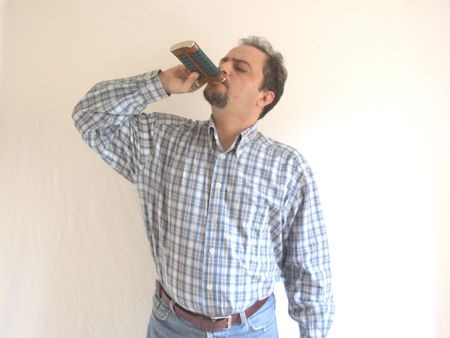 moustached: man having some whiskey Stock Photo
