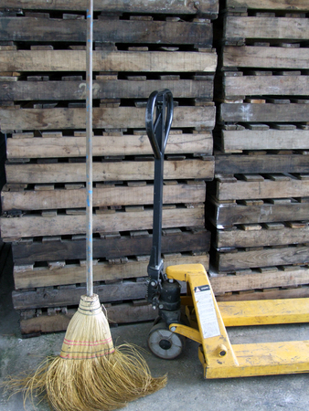 broomsticks: worn out broom and a lever Stock Photo