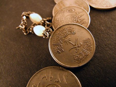 arabic currency: earrings made of coins