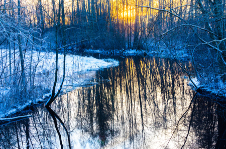 Idyllic snow stream at sunset