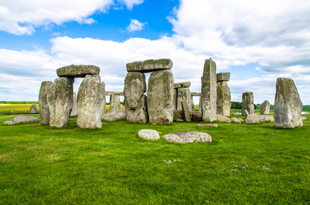 Cloudy skies hover above the historic Stonehenge site of anciet burials