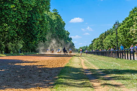 sight seeing: Horse riding, tourists and joggers at Hyde Park in summer, London