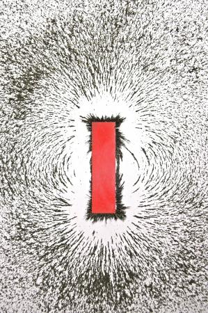 magnetismo: Bar magnete con la limatura di ferro mostrando campo magnetico modello  Archivio Fotografico