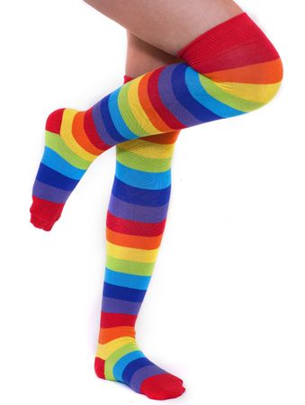 A pair of colourful rainbow over the knee stripy socks photo