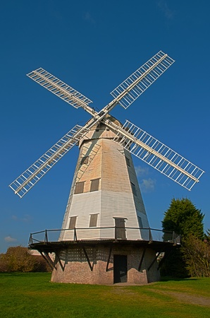 smock: An old smock windmill at Upminster, Essex, England Stock Photo