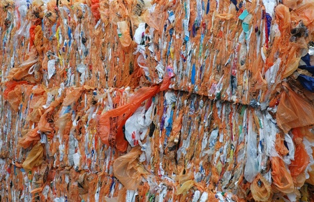 a stack of plastic bags for recycling photo