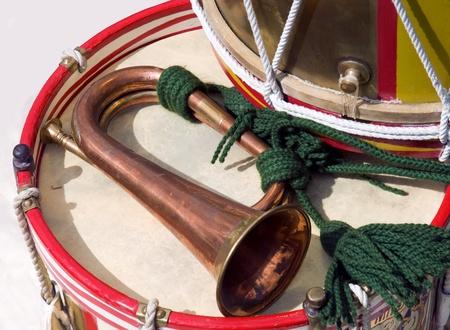 british army: A British Army Bugle and Drum