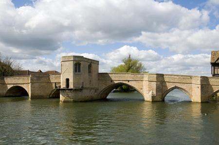Old bridge over the River Great Ouse at St Ives, Cambridgeshire photo