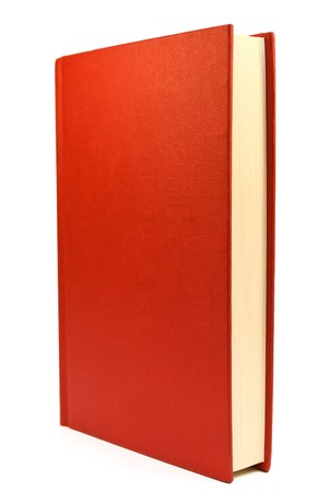 hardback: Red hardback book on a white background
