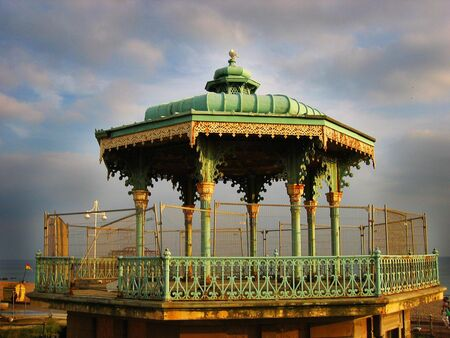 derelict: Derelict victorian band rotunda on Brightons seafront Stock Photo