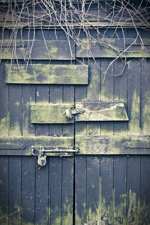 weather beaten: Chiusa vecchi e meteo battuto porte in legno lucchetto Archivio Fotografico